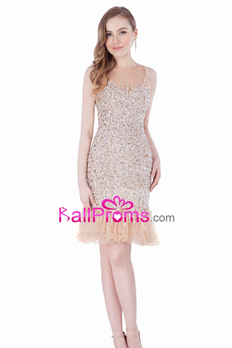 prom dresses scoop sheath with beading tulle short special