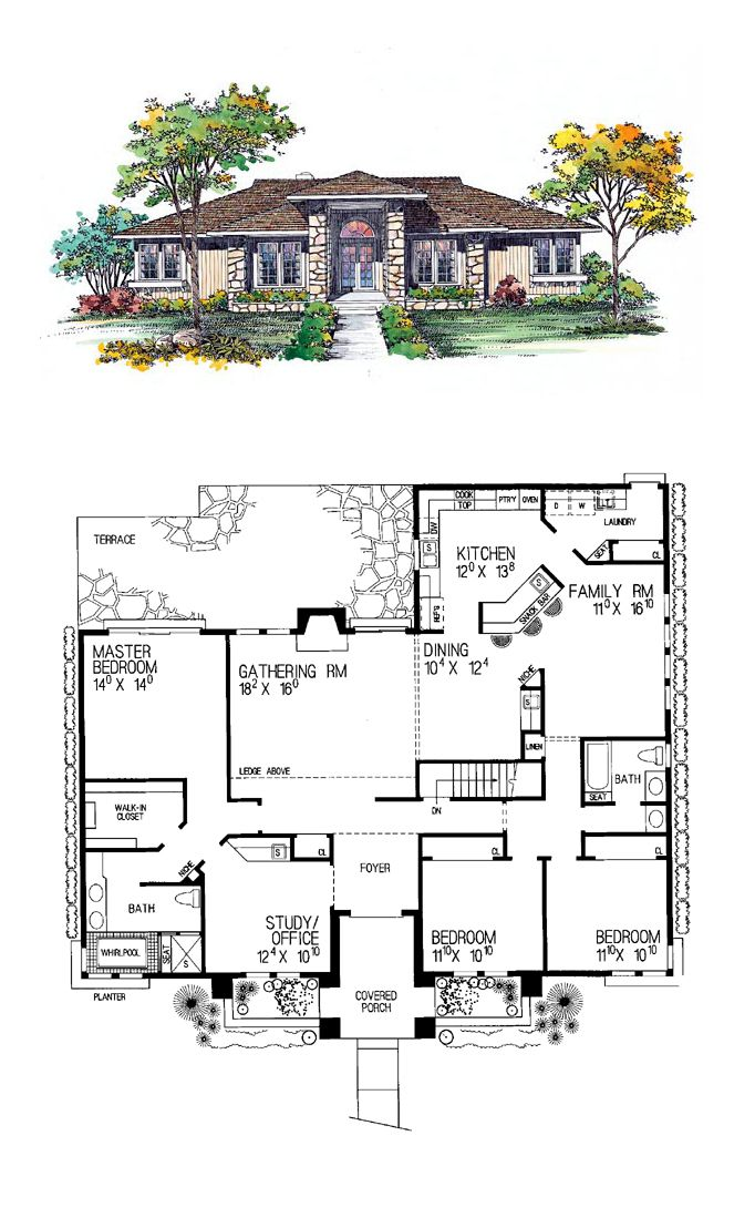Prairie house plan 95039 total living area 2274 sq ft 3 bedrooms and 2 bathrooms - Best house plans for a family of four ...