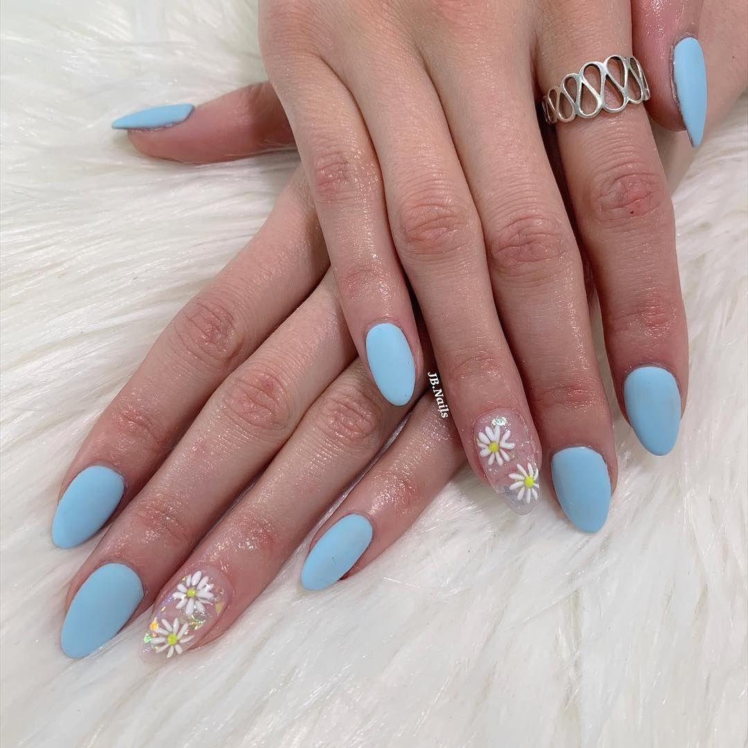Matte Light Blue Acrylic Nails Oval Nails Matte Nails Nail Art Nail Design Blue Nails Baby Blue Nails Oval Acrylic Nails Blue Acrylic Nails Oval Nails