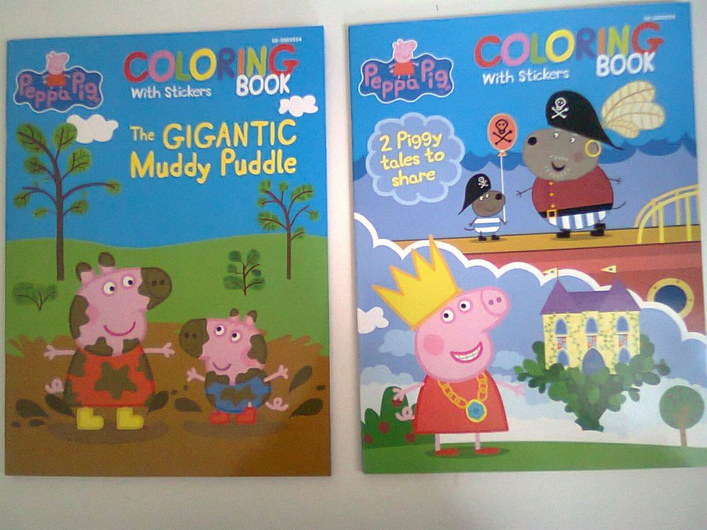 NEW TWO Peppa Pig Coloring Book With Stickers 2pc Lot As Shown