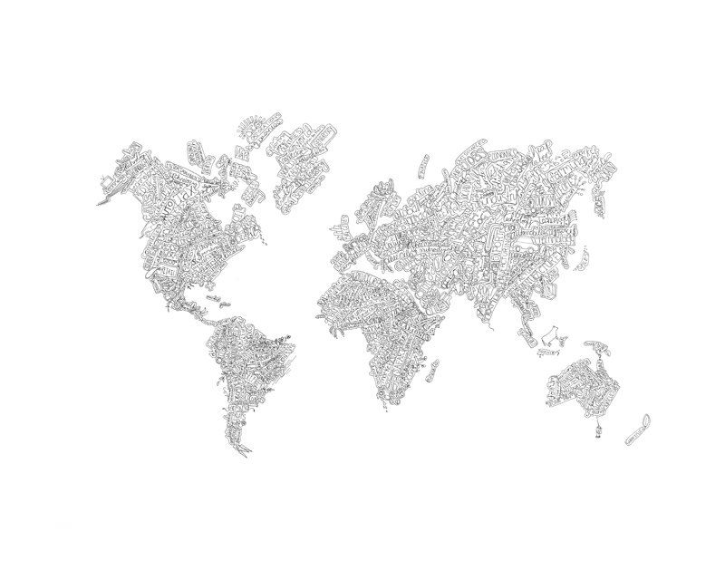 Hand drawn world maps- small | Great Ideas | Pinterest | Hand drawn