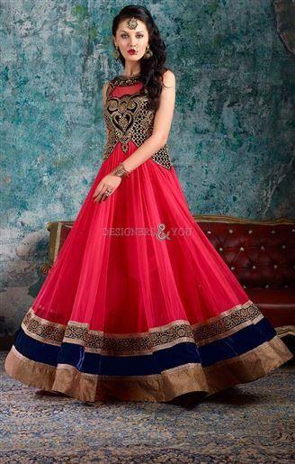 b6f4ff28f2b Buy Beautiful long anarkali salwar suit embellished frock style ...