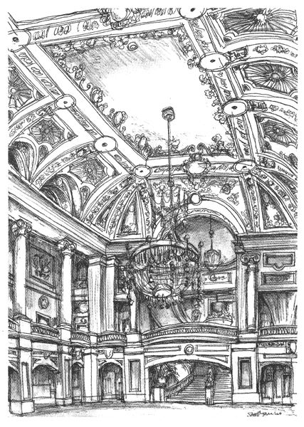 Original Drawing of A lavish interior at the Chicago Theater