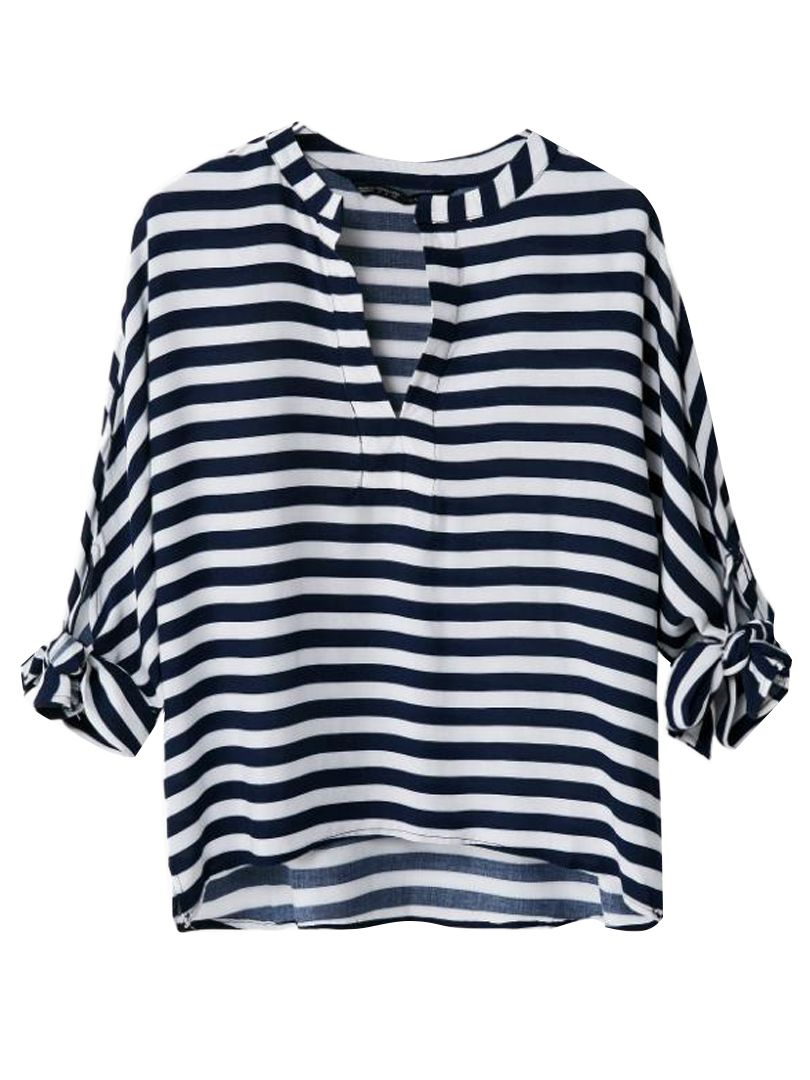 Stripe V-neck Blouse With Bow Sleeve