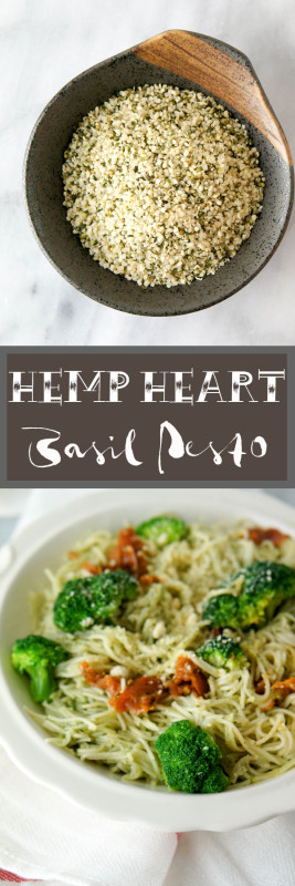 Hemp Heart Basil Pesto, a heart healthy way to add omega-3's and omega-6's to your plant based diet!