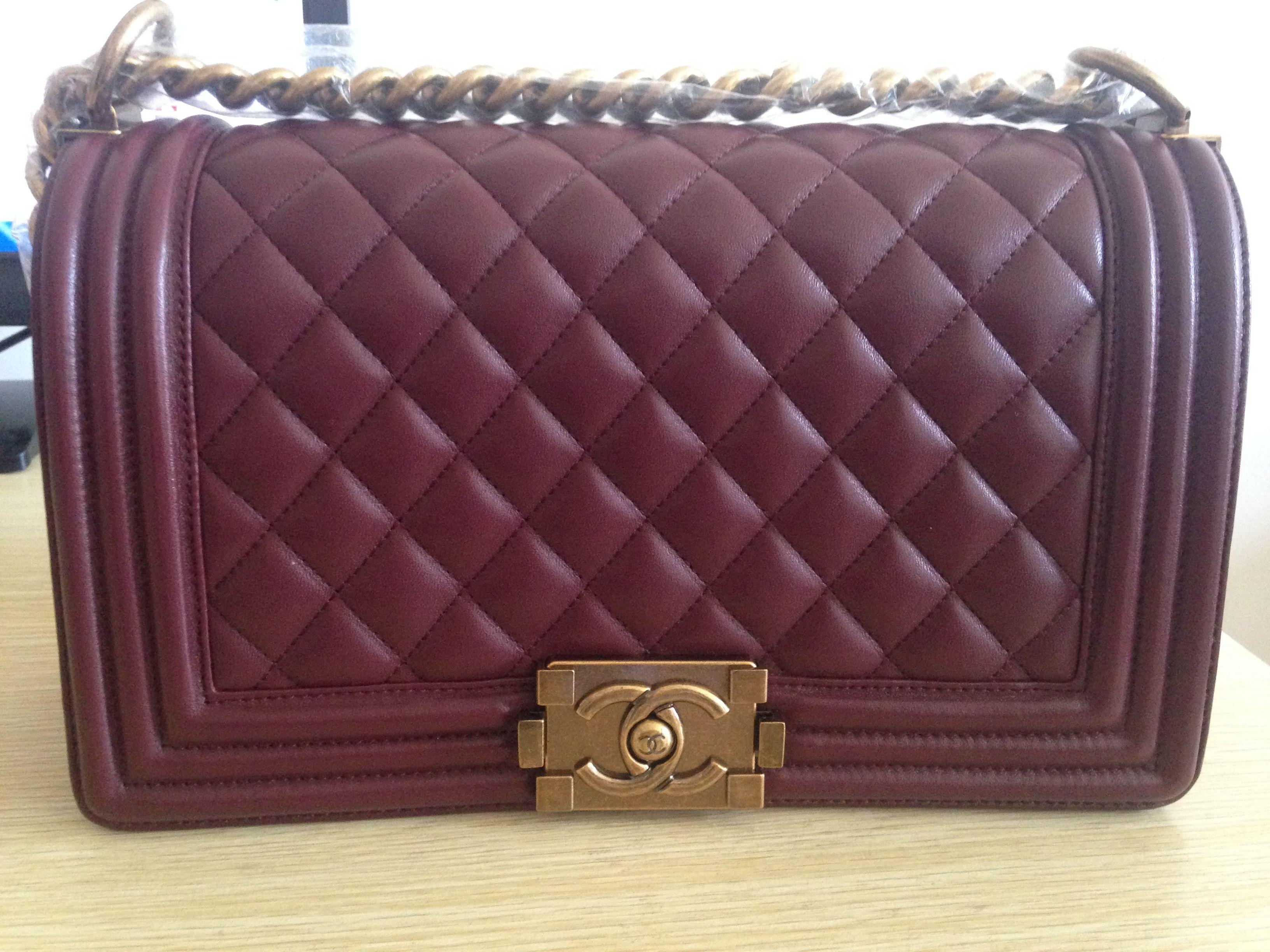 3f862db56023ea Chanel Medium Le Boy Flap Bag In Burgundy Email: winnie@shoescrazy.net