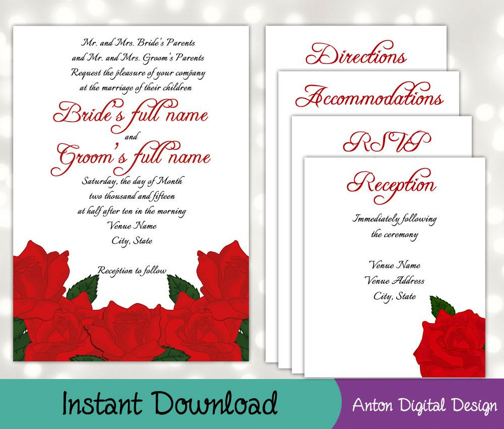 DIY Red Roses Wedding Invitation Suite - Instant Download - Print at ...