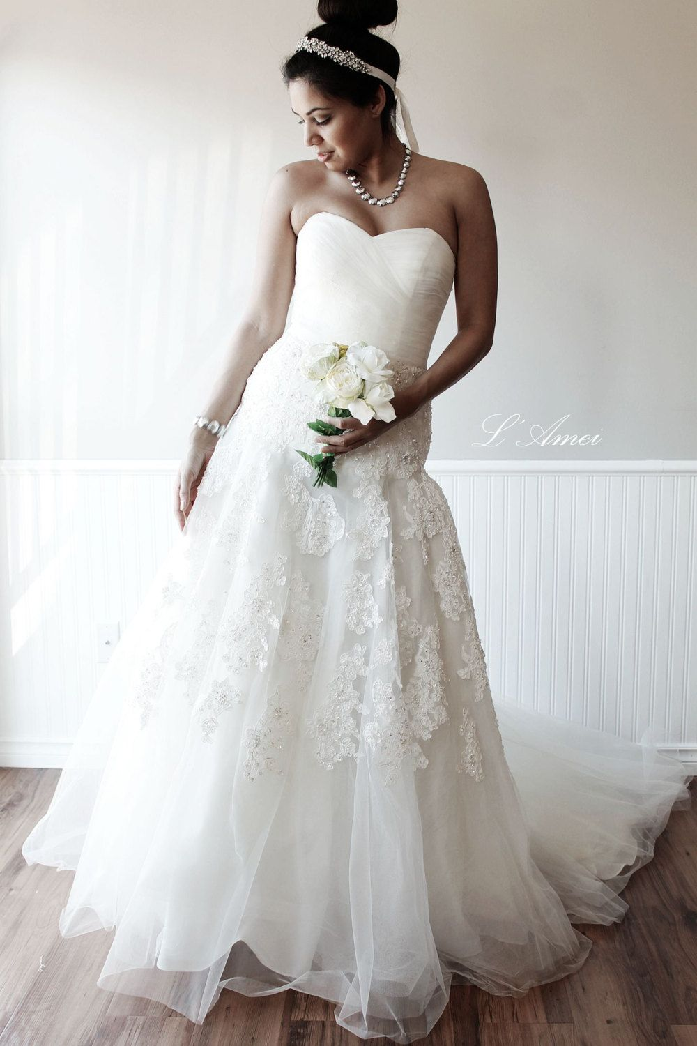Blinged out wedding dress  Custom Made Classical French Lace Tulle Wedding Dress by LAmei