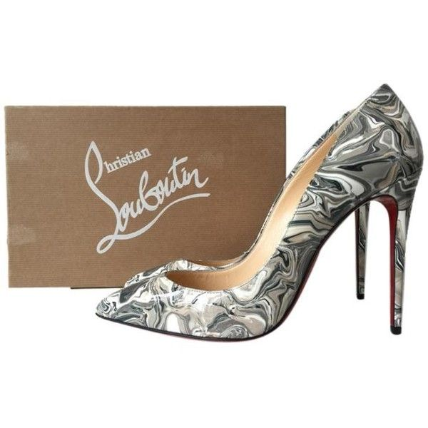 Pre-owned Christian Louboutin Pigalle Follies 100 Marble Apt Grey... ($672) ❤ liked on Polyvore featuring shoes, pumps, black, black white pumps, black shoes, grey pumps, patent pumps and gray pumps