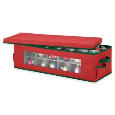 42-Count Christmas Ornament Storage Box Red Christmas ornament