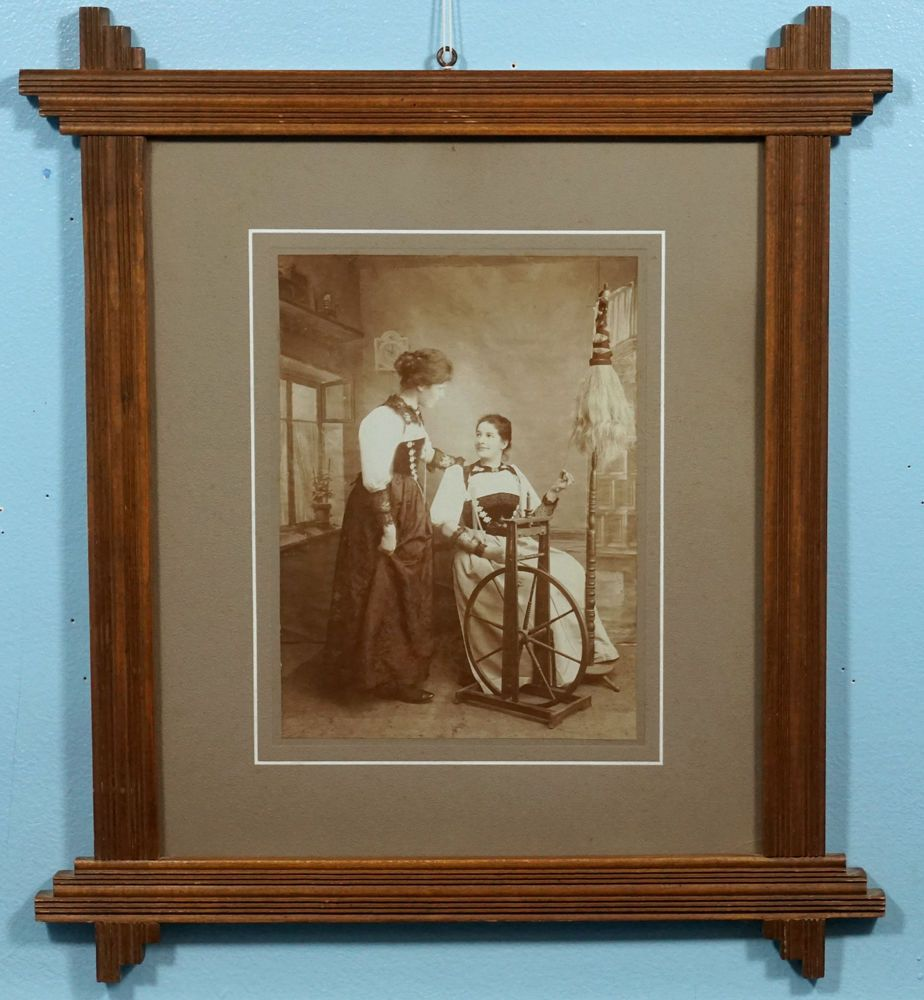 Antique Swiss Black Forest Wood Carving Large Picture Frame Women Spinning Wheel Black Forest Wood Large Picture Frames Black Forest