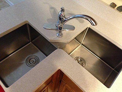 Ruvati Rvh8400 Undermount Corner Kitchen Sink 16 Gauge 44 Double Bowl Stainless Steel Ama Corner Sink Kitchen Best Kitchen Sinks Double Bowl Kitchen Sink