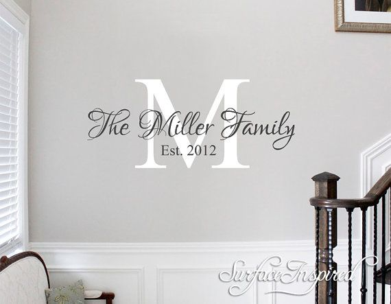 beautiful family wall decal with personalized name and established