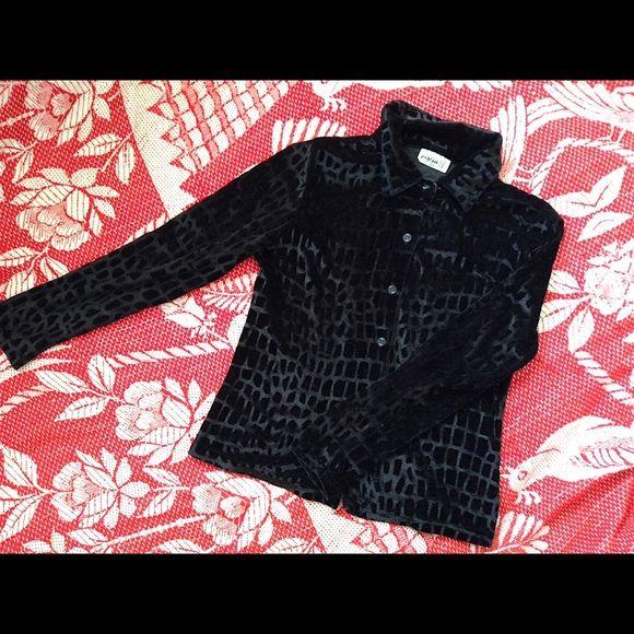 Vintage Black Velvet Button Up Cutest 90s black velvet button up. Features chic velvet design with collar. Size XS/S Vintage Tops Blouses