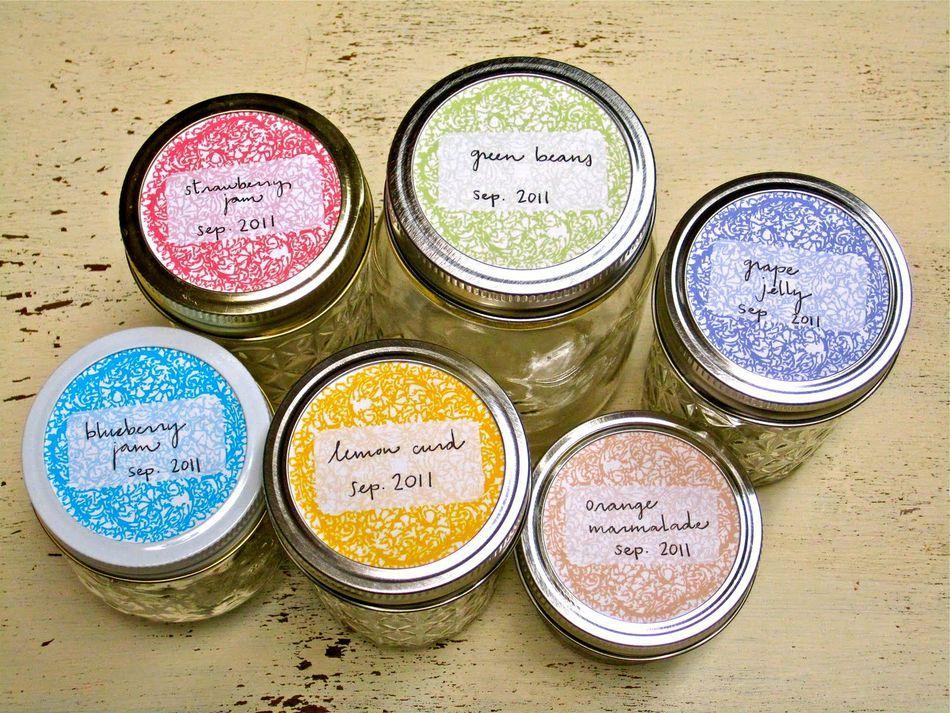 Colorful labels on canning jars mason jars labels