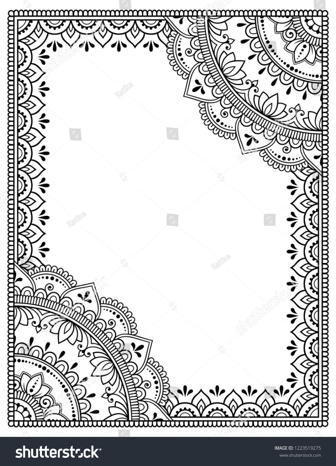 stylized henna tattoos decorative pattern decorating stock