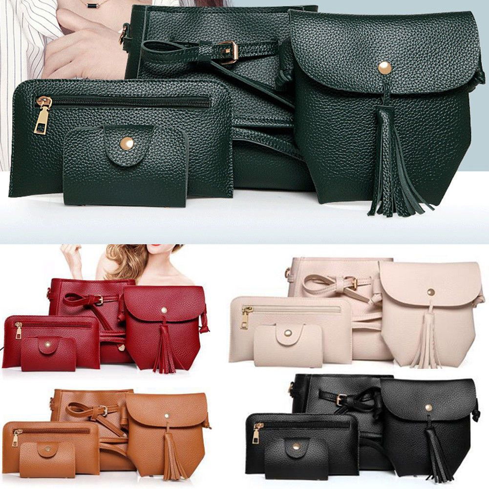 54835426219 4Pcs Women Handbag Lady Pu Leather Shoulder Bag Tote Purse Messenger Satchel  Set
