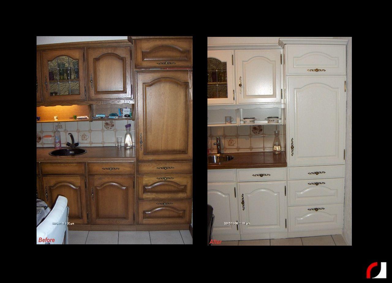 Keuken Verven Ikea : Massief eiken keuken wit gespoten spuiterij verven