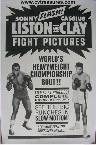 ec2e4e87 Cassius Clay Muhammad Ali vs Sonny Liston Vintage Fight Boxing Poster 1964