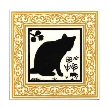 Cat and Mouse with Gold Victorian Border for Wall Plaque, Kitchen ...
