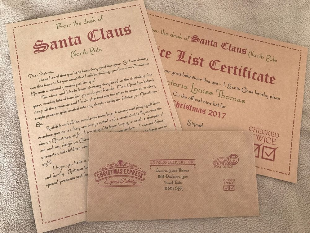 Details about Personalised Vintage Letter from Santa