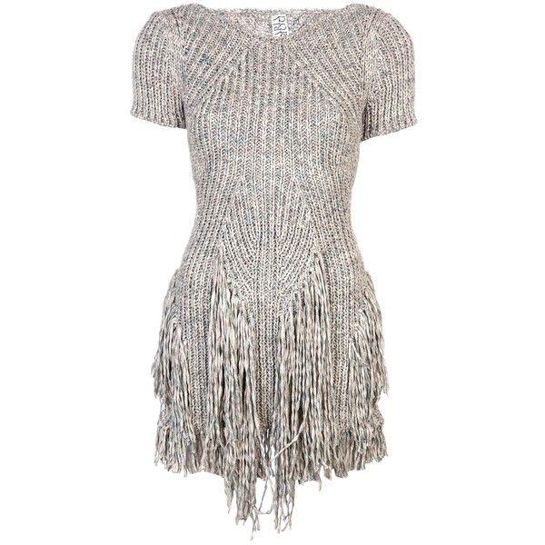 MARIA DORA Fringe mini dress found on Polyvore featuring polyvore, women's fashion, clothing, dresses, gray dress, short dresses, fringe mini dress, grey blue dress and short blue dresses