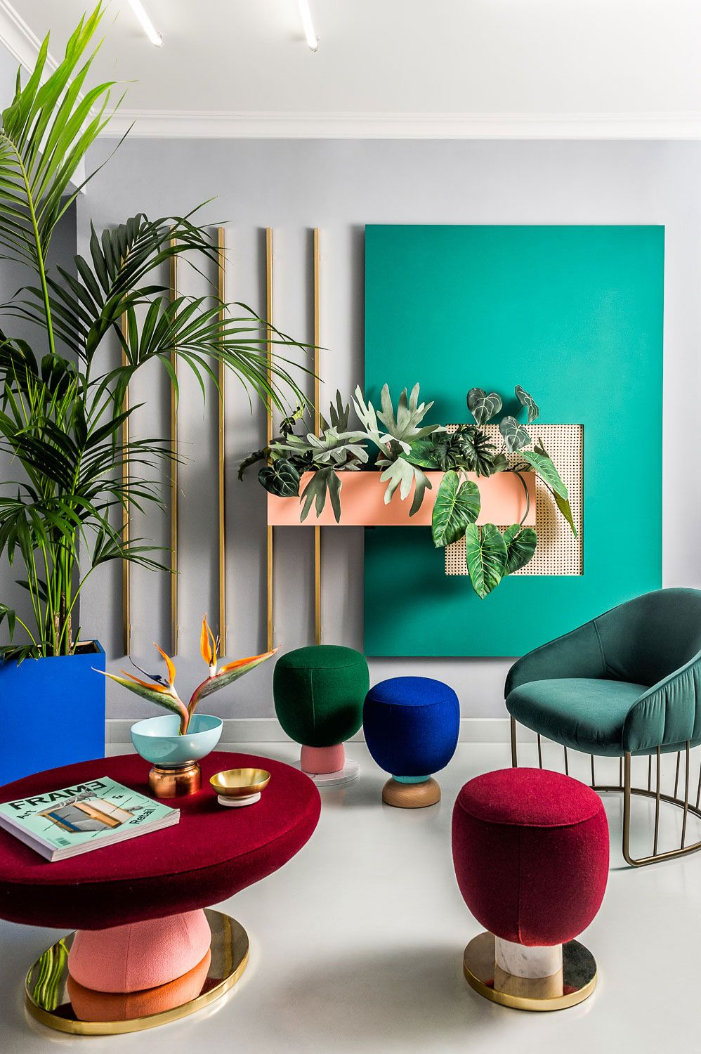 Color scheme inspiration bright colours and geometric forms used by the memphis group influenced interior design of masquespacio   studio space in also hua baobao xiaochun on pinterest rh