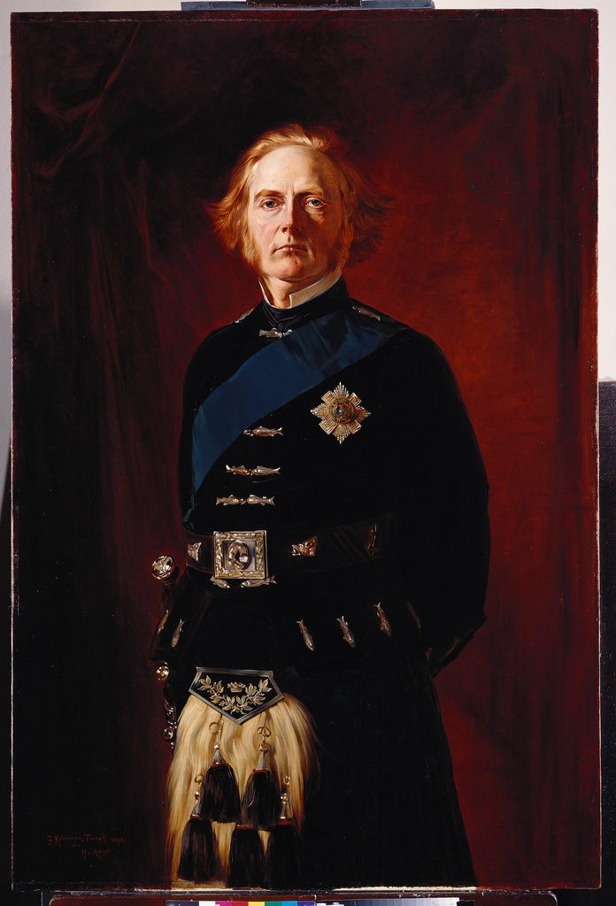 George Douglas Campbell (1823-1900), 8th Duke of Argyll, Scotland by unknown artist. Husband of 1st wife Elizabeth Georgina Sutherland-Leveson-Gower (1824-1878) Scotland, 2nd wife Amelia Maria Claughton-Anson (?-1894), 3rd wife Ina McNeill (?-1925).