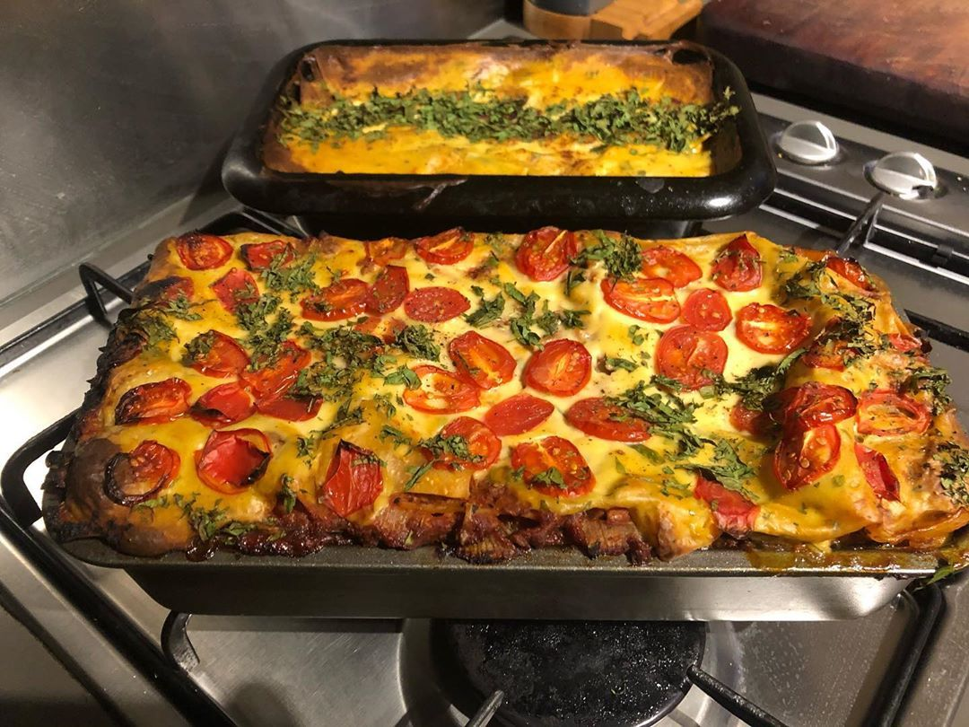 Vegan Lasagne With A Cauliflower Bechamel And Layers Of Courgette Aubergine And Pasta Sheets Served With A Crunchy Pasta Sheets Vegan Pasta Lasagne