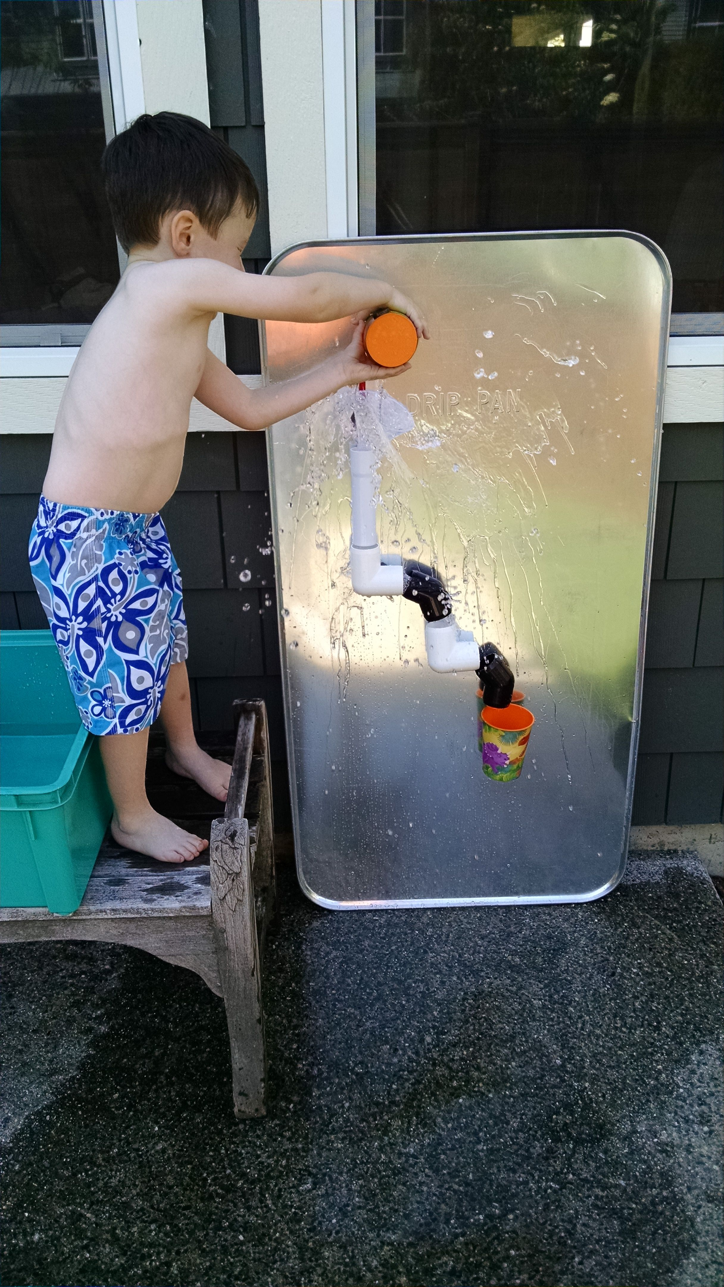 Diy water wall our marble run made with pvc pipes for Water wall plumbing