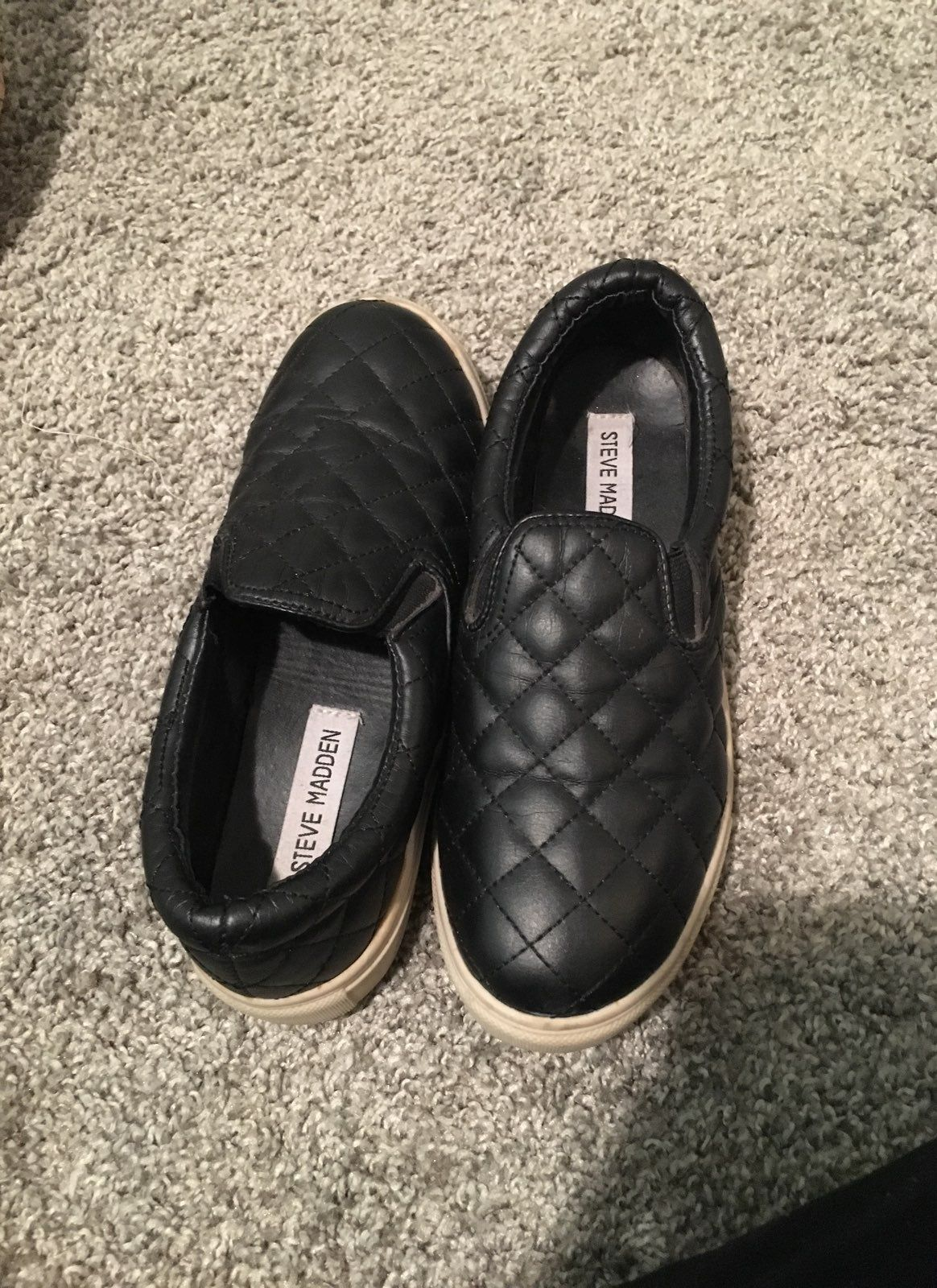 Quilted Black Slip Ons Runs a bit small