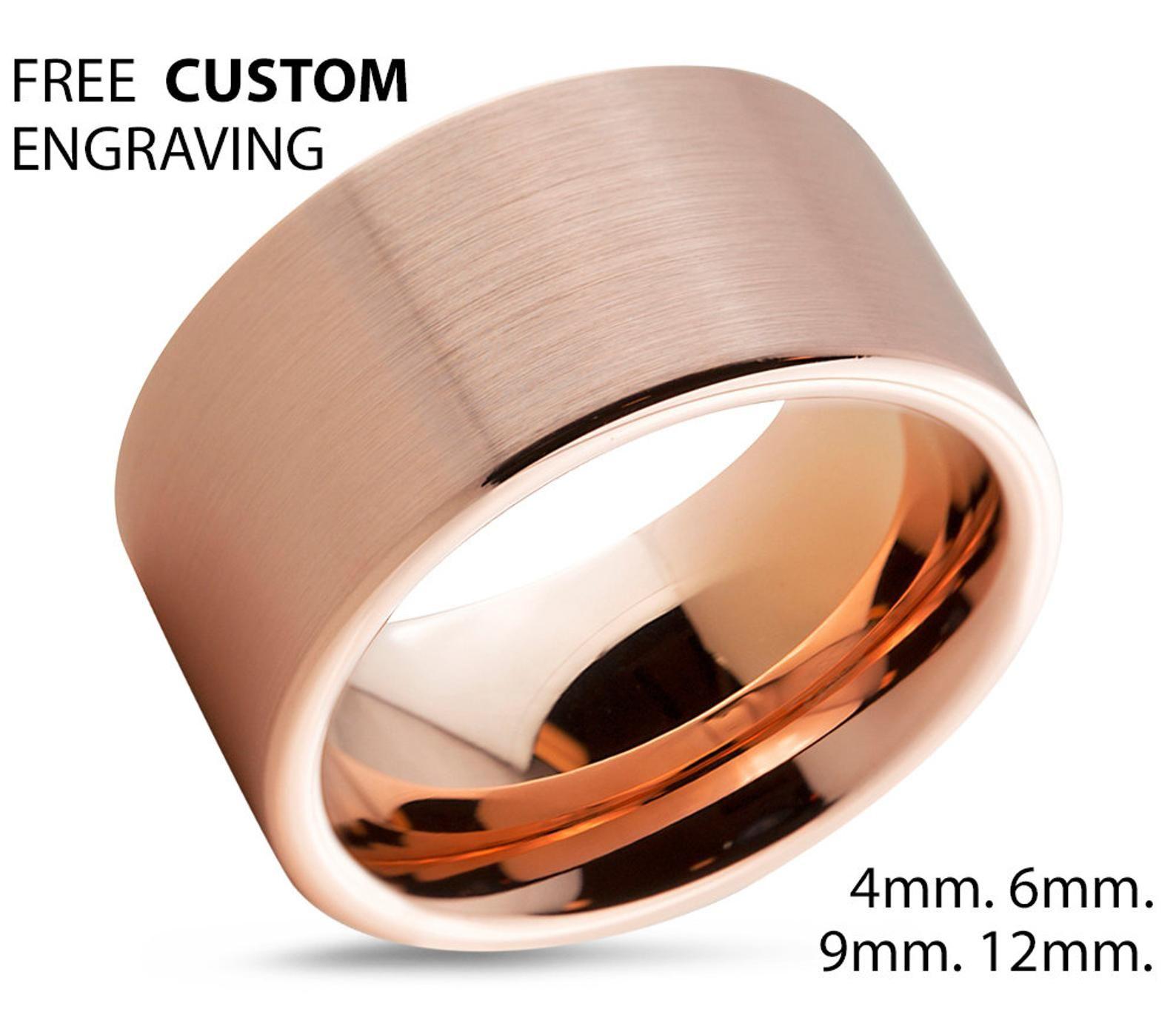 Mens Wedding Band, Tungsten Ring Rose Gold 18K 12mm