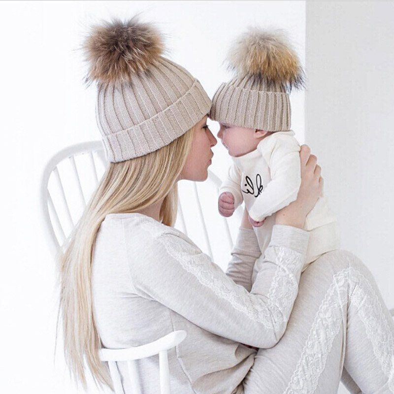 Mum and Baby Matching Knitted Hats Warm Fleece Beanies - Cream | Bebé