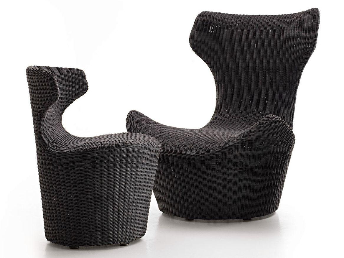High-back polyethylene garden armchair with footstool GRANDE