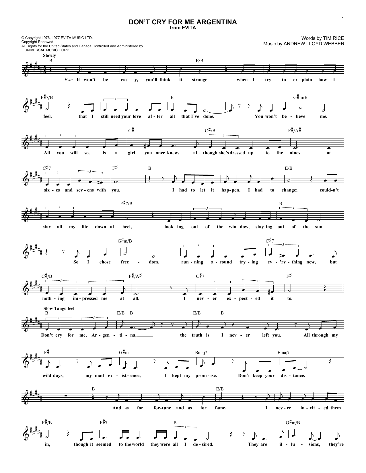 download lead sheet fake book sheet music to don t cry for me