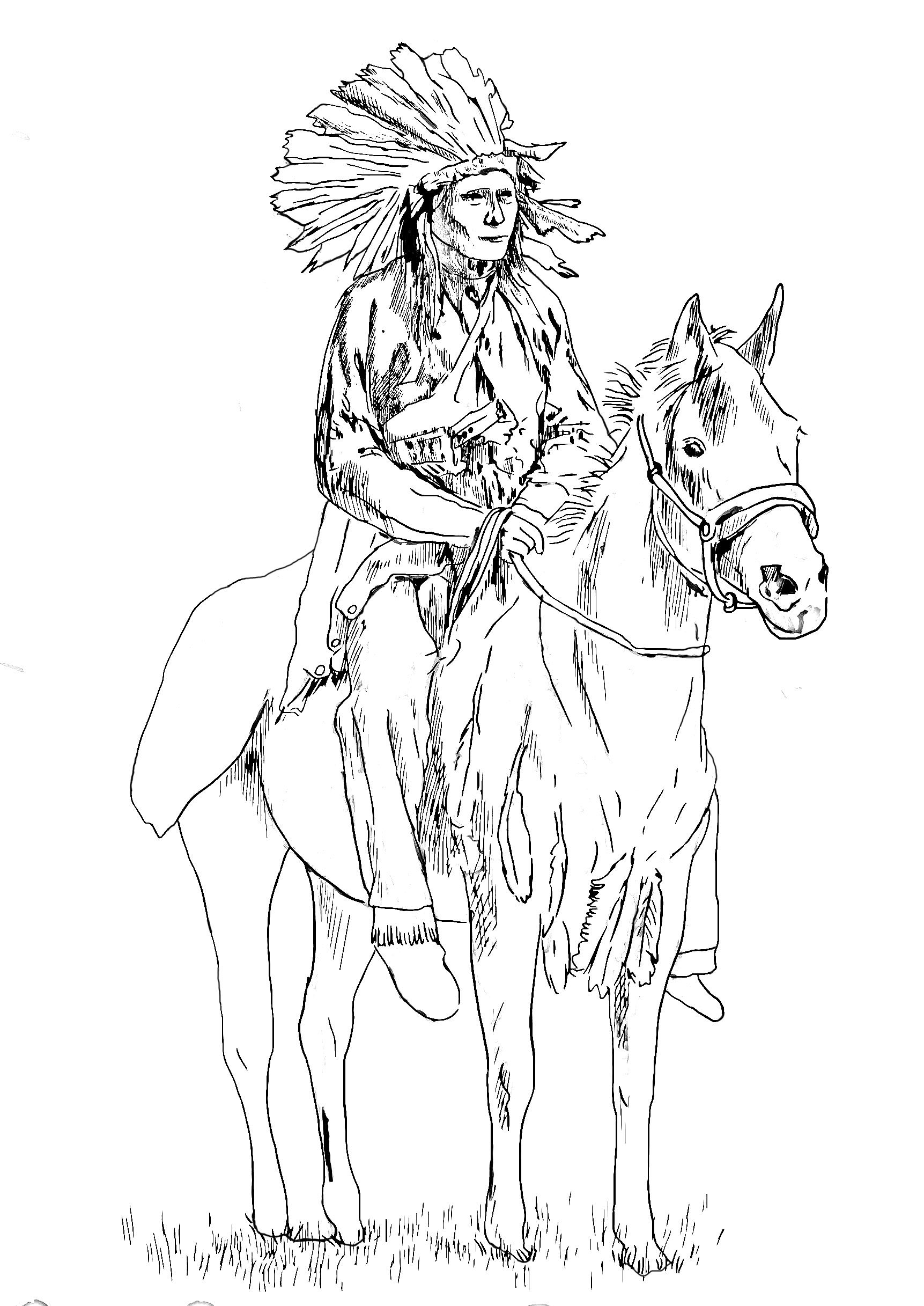 Free coloring page coloring adult native american on his horse