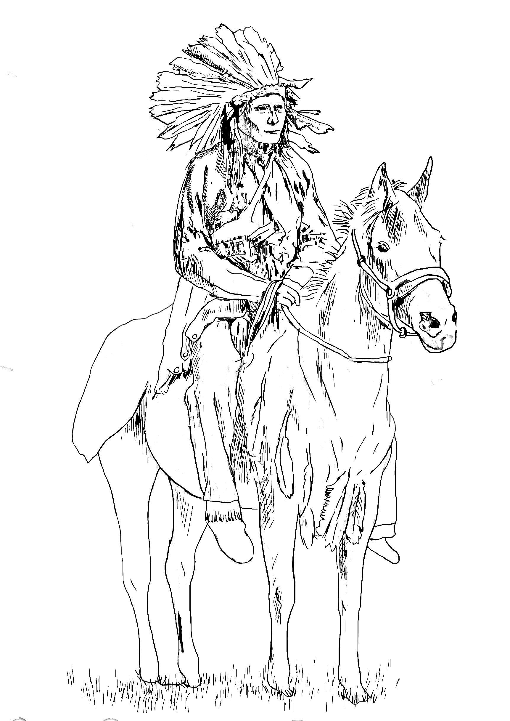 Dessin magnifique d 39 un grand chef indien sur son chevala partir de la galerie indiens d - Coloriage magnifique ...