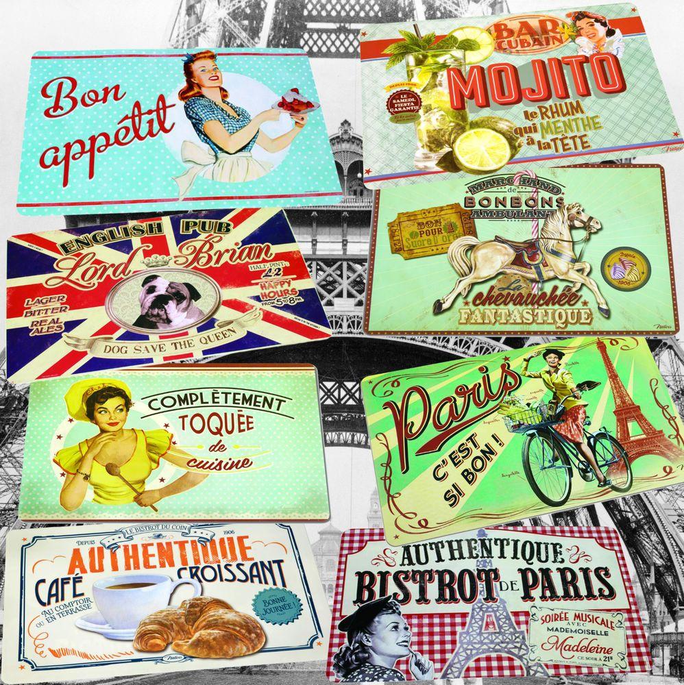 1 Stück Platzmatte Retro Nostalgie Platzset Tischset Tisch Platzdeckchen Paris