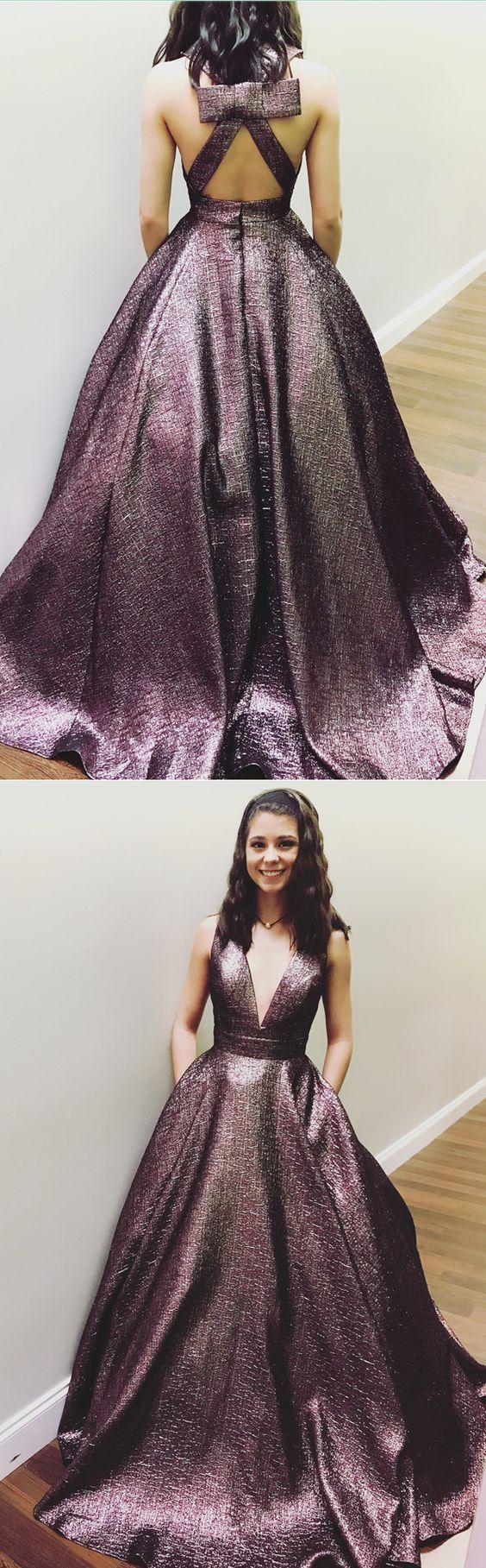 Open back dark purple vneck formal long prom dress pd us