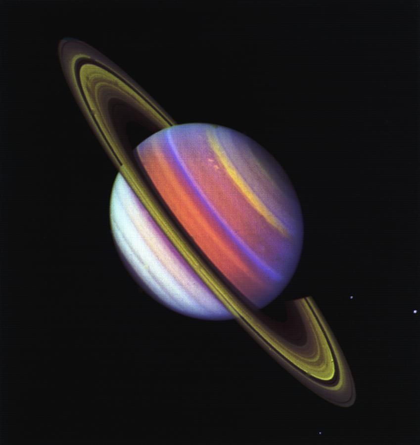 This psychedelic false-colour view of Saturn from Voyager 2 reveals structure…