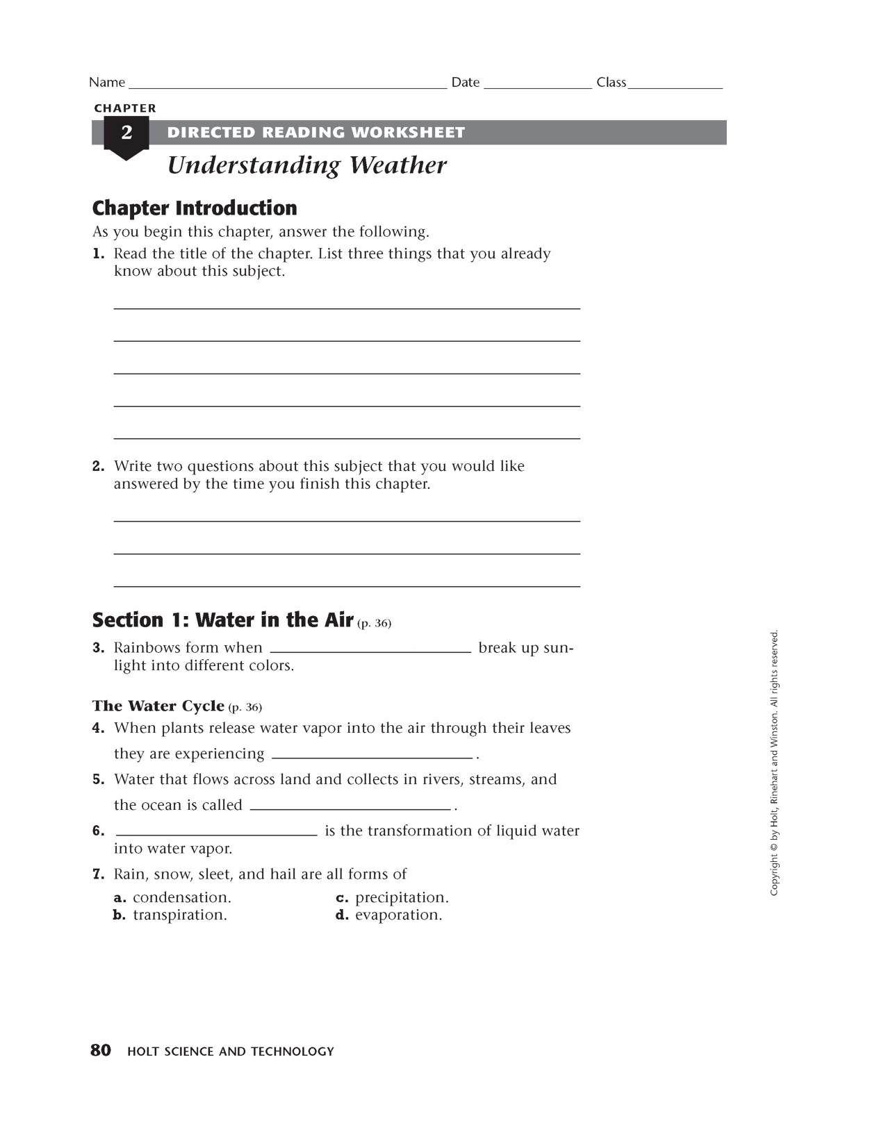 small resolution of Holt Science and Technology Worksheet Answers   Science worksheets
