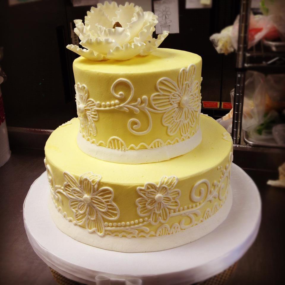 Yellow Bridal Shower Cake Decorating - Weddings