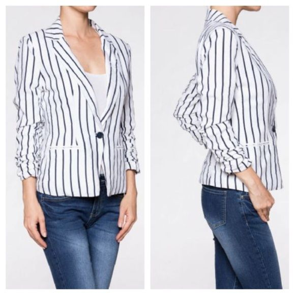 Linen blend striped jacket ONE DAY SALE Fully lined chic white with blue stripes linen/viscose jacket Jackets & Coats