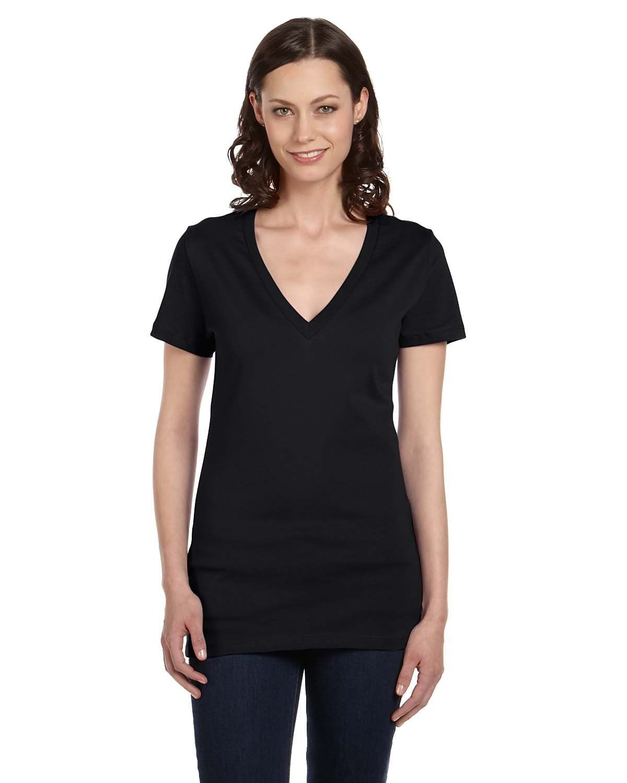 449e2ed8 Bella + Canvas Ladies' Jersey Short-Sleeve Deep V-Neck T-Shirt B6035 BLACK
