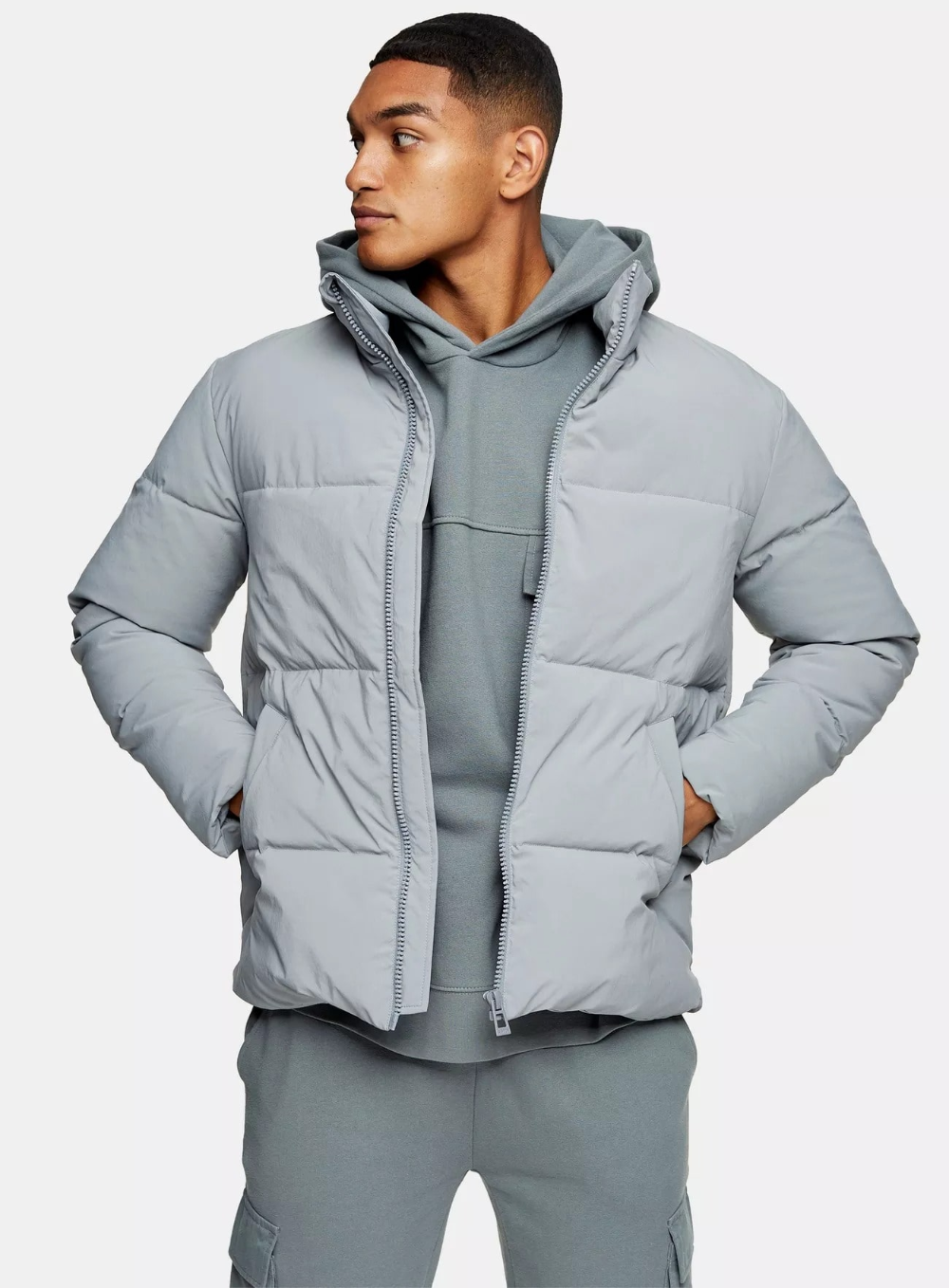 Blue Recycled Polyester Puffer Jacket North Face Puffer Jacket Topman Jackets [ 1358 x 1000 Pixel ]