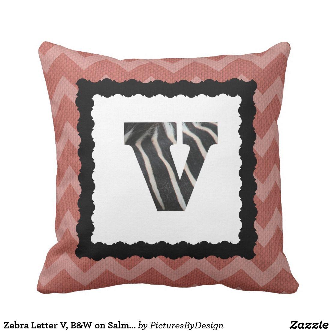Zebra letter v buw on salmonwhite chevron throw pillow hands off