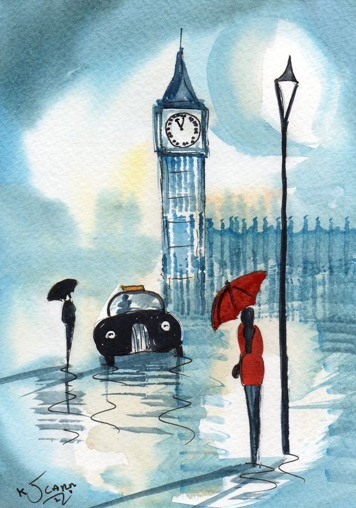 Original Signed Watercolour Painting London Rainy Day Red