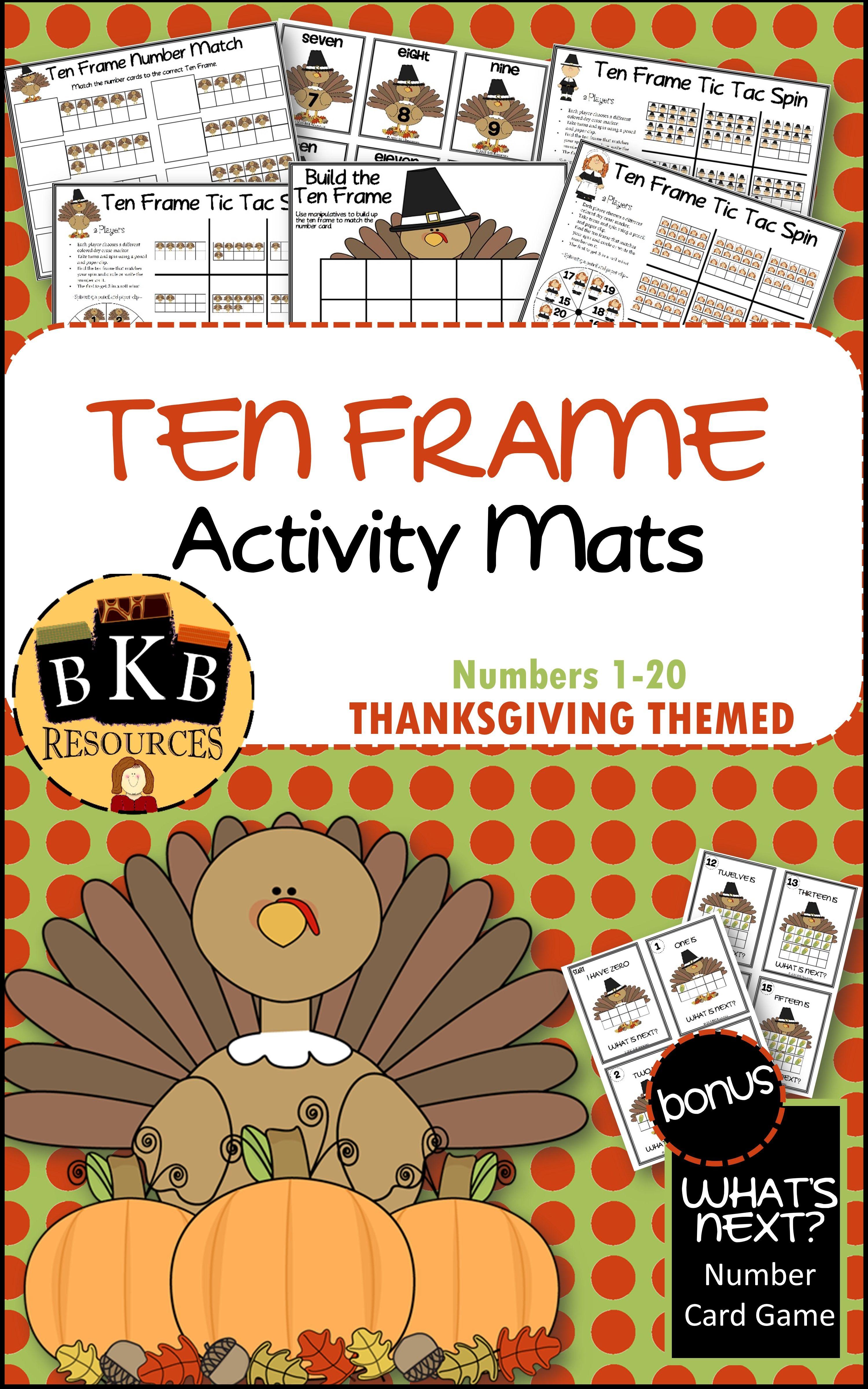 Thanksgiving Ten Frames Thanksgiving Games Thanksgiving