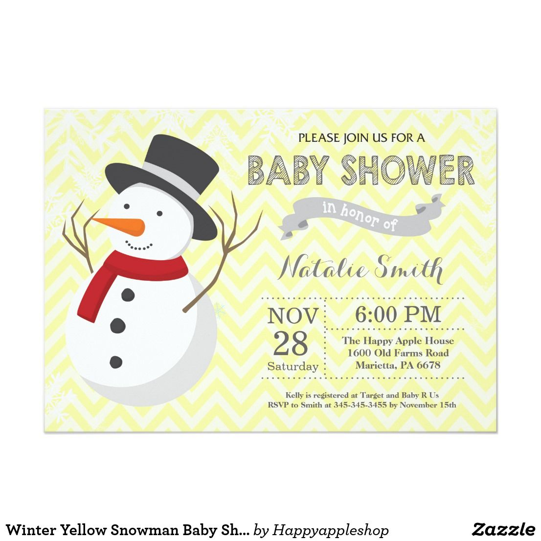 Winter Yellow Snowman Baby Shower Invitation