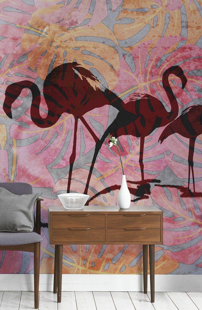 Wallpaper WILD FLAMINGOS by Wallpepper